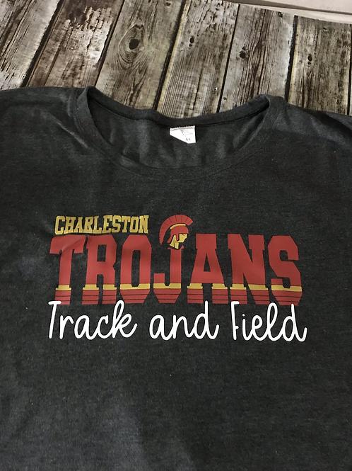 Ladies Trojans Track and field stipe logo