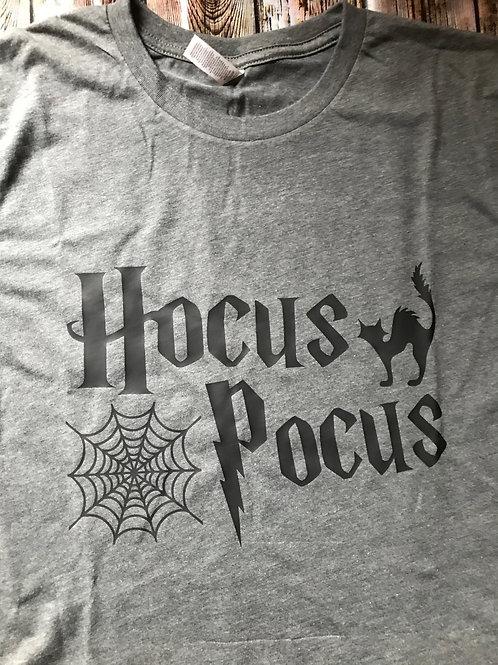 "Halloween ""Hocus Pocus' Gray and Black T"