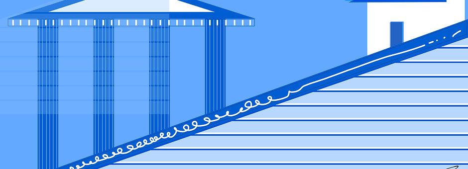 """""""Blue Greece"""" Impression sur Alu Dibond 85x40cm"""