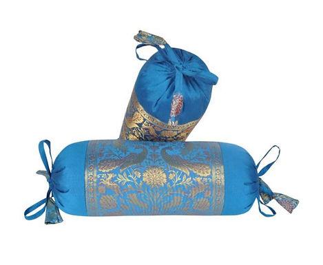 Bolster kussen van zijde in blauw met goud