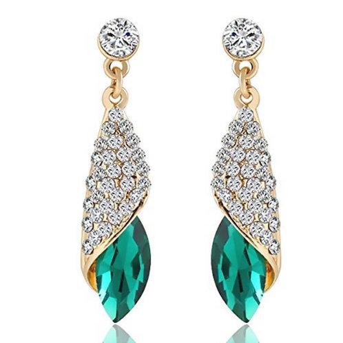 Wit groene Kristal oorbellen