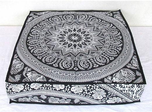 Lounge kussen groot vierkant zwart wit zonder vulling