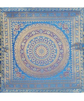 Kussen Lal Haveli blauw met goud