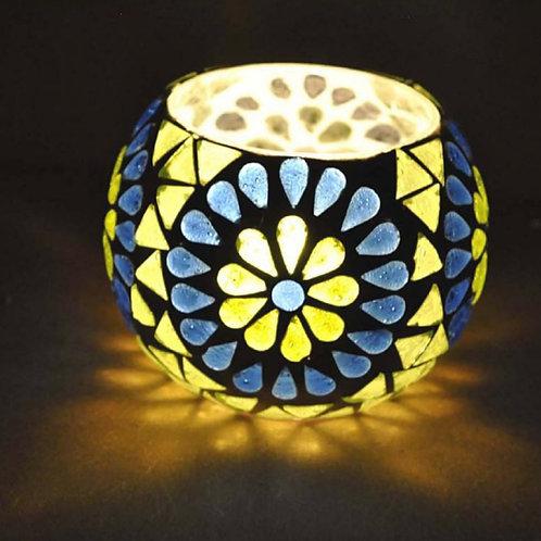 Waxine lichthouder bloem blauw met geel klein
