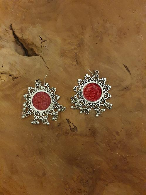 Rode gong bel oorbellen