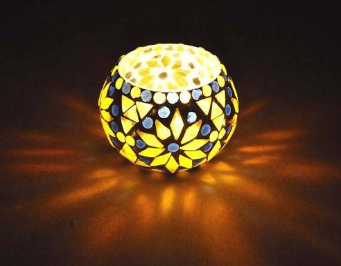 Waxinelichthouder geel met blauw klein