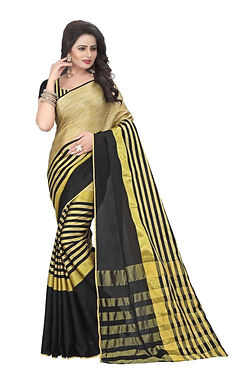 Zwart goud geweven sari