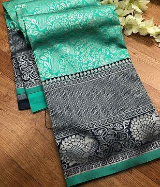 Sari  groen met grijs