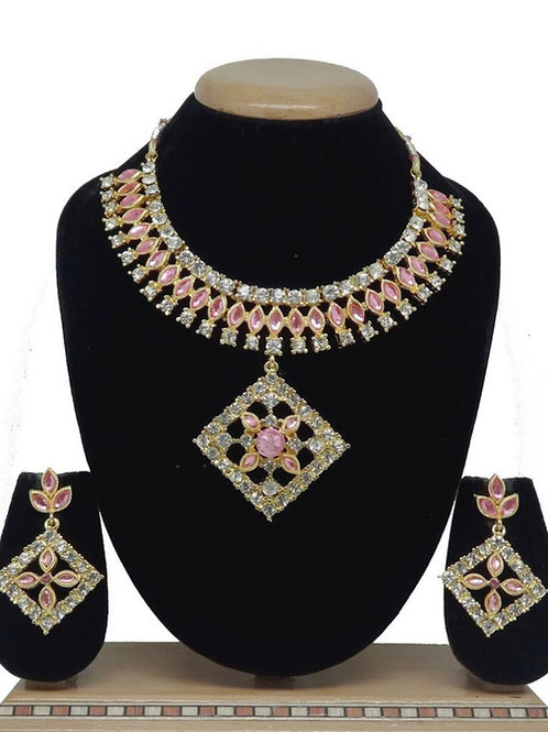 Pink mit weißer Halskette mit Ohrringen