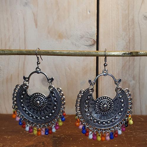 Zilveren kleurrijke oorbellen