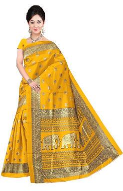 Mosterd kleurige sari met olifanten