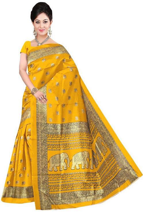 Senffarbener Sari mit Elefanten