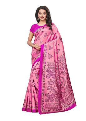Roze geprinte sari