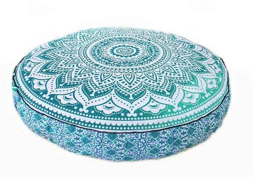 Groot rond lounge kussen mandala groen blauw zonder vulling