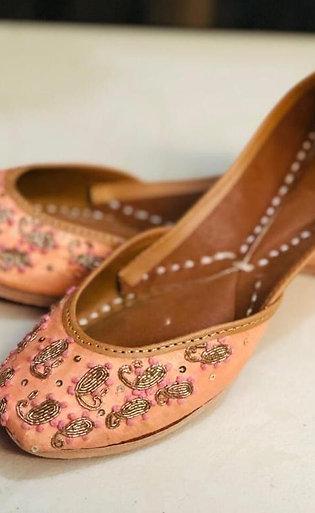 Punjabi leren schoenen zalm