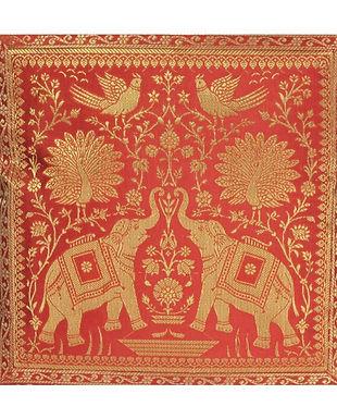 Kussen Lal Haveli met olifanten rood goud