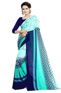 Multi gekleurde Georgette sari.