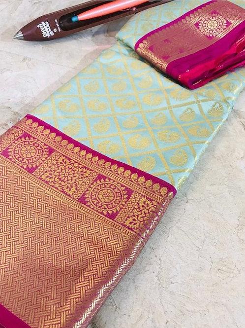 Sari mint groen met roze