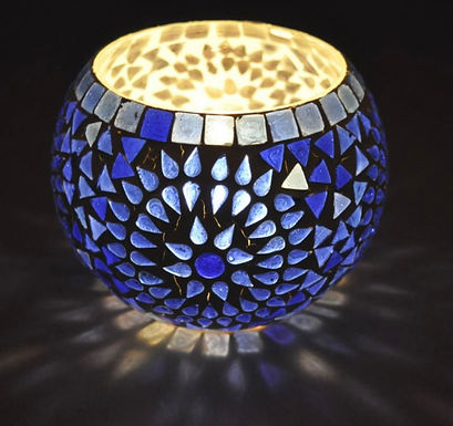 Waxinelichthouder blauw groot