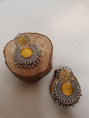 Gele gong zilveren oorbellen