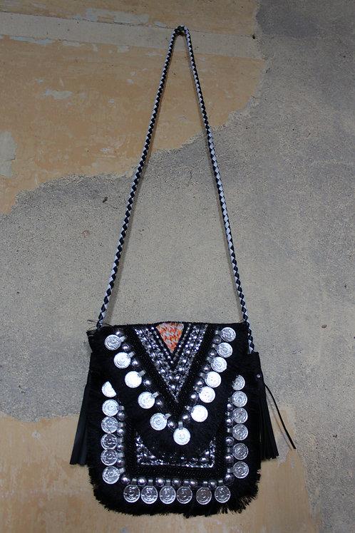 Mini zwarte boho tas