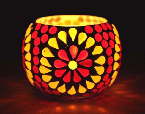Waxine lichthouder rood met geel klein
