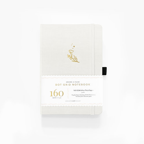 Archer & Olive Moon Flowers Dot Grid Notebook With Gold Gilded Edges