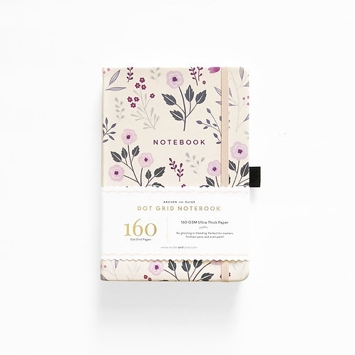 Archer & Olive Painted Flowers Dot Grid Notebook