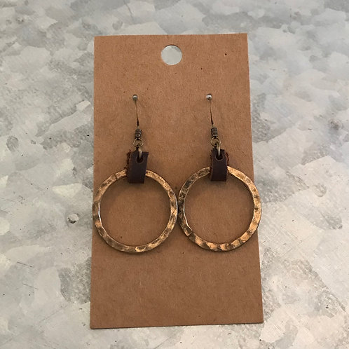 Bronze Hammered Circle Earrings