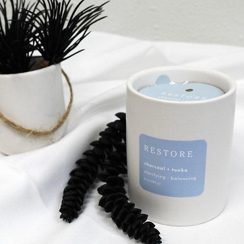 Restore Charcoal + Tonka Candle