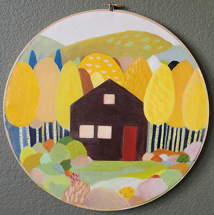 Fall Mountain Cabin Acrylic Painting