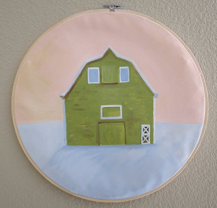 Green Barn Acrylic Painting