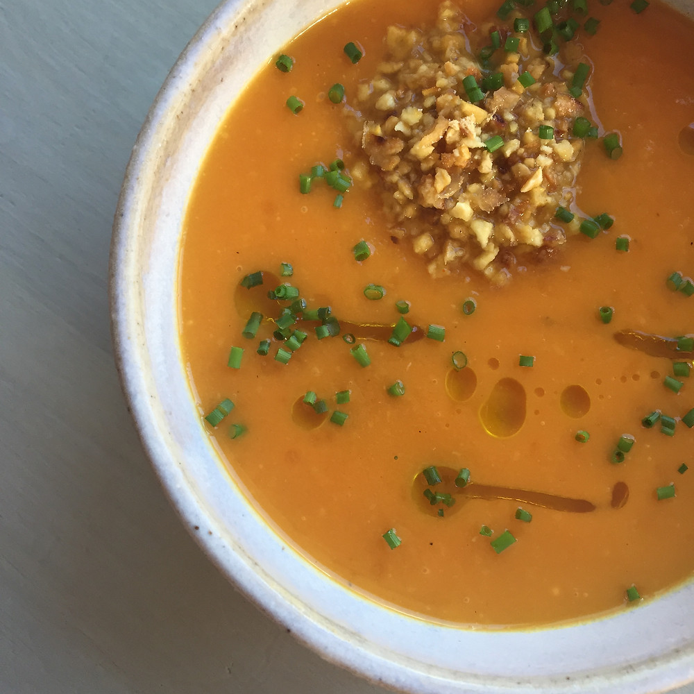 Pumpkin Ginger Soup with Toasted Miso