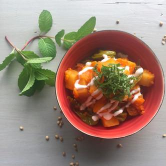 Sweet potato masala curry | shishito | mint | yogurt