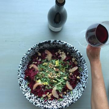 kitchen sink salad   easy vinaigrette   friendship   wine