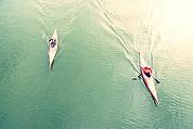 Lake İnsanlar Kayaking Of Yüksek Açı Gör
