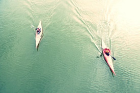 High Angle View Of People Kayaking In La