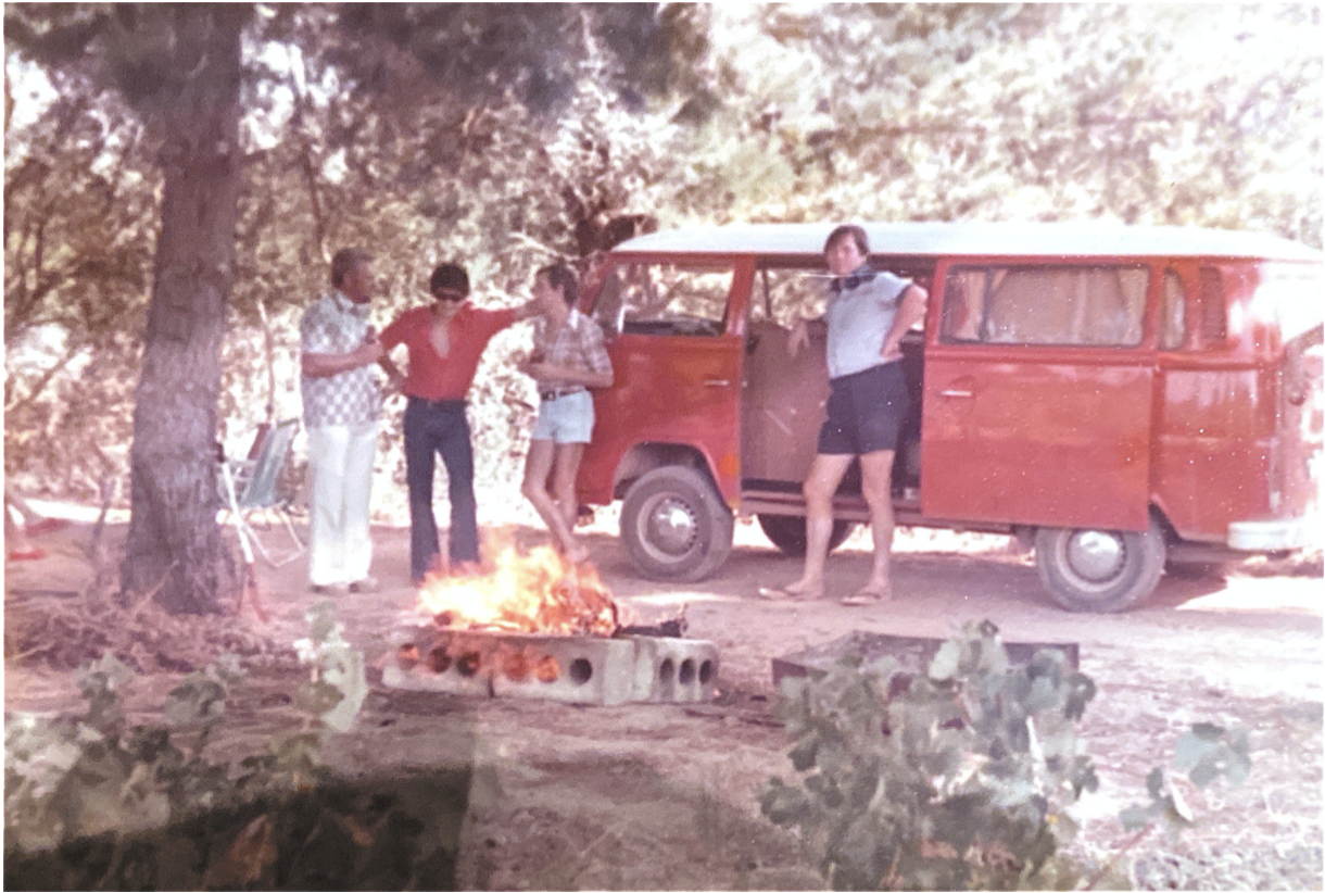 Reinhard with his red VW Combi, braaing