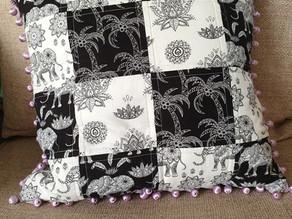 Elephant Mandala Patchwork Cushion