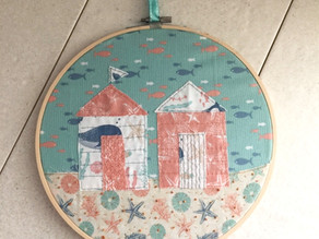 Embroidered Beach Huts Hoops