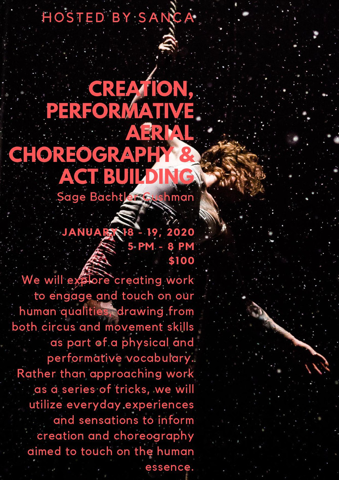 Come join us for Creation, Performative Aerial Choreography & Act Building at SANCA in Seattle J
