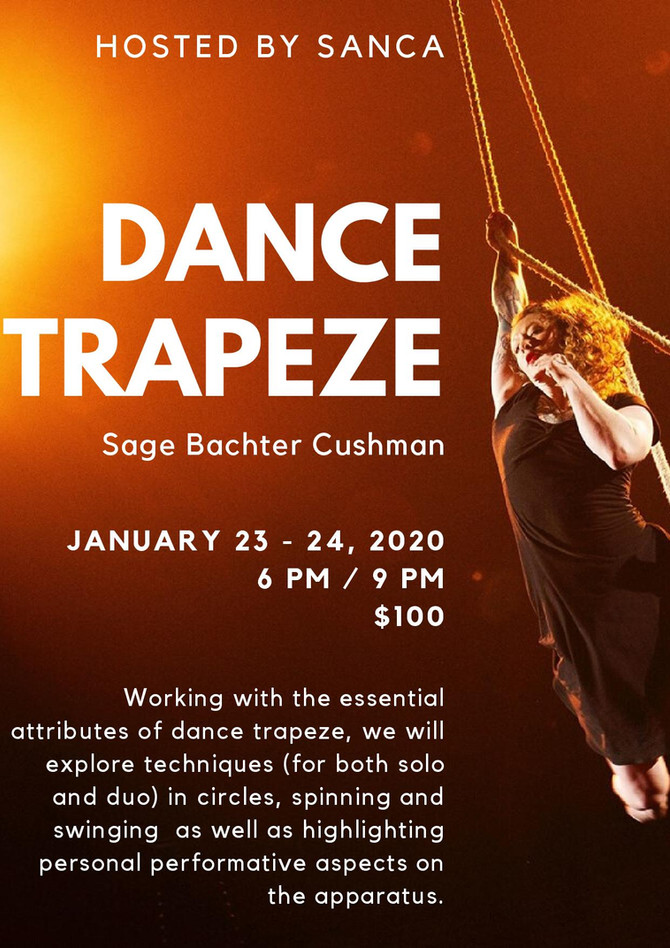 Join us for a workshop in the fundamentals of Dance Trapeze at SANCA in Seattle, January 23rd-24th!