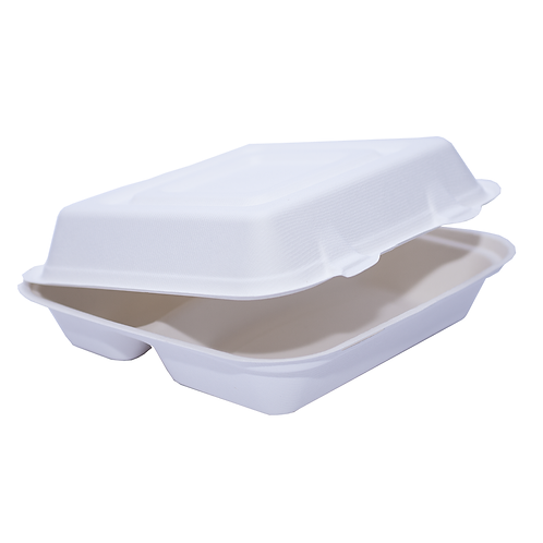 Lunch Box Bio bagasse 3 compartiments 2000ml ( U.V. 200pcs )