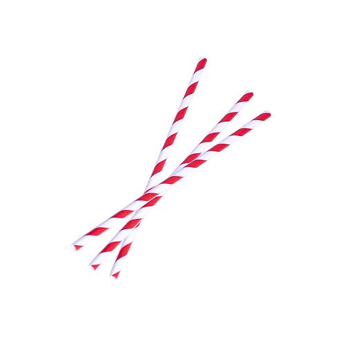 Pailles rouge et blanches en papier ( U.V. 250pcs )