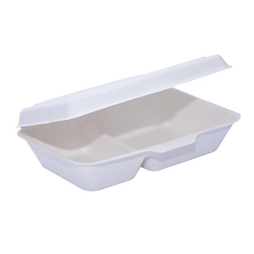 Lunch Box Bio bagasse 2 compartiments 1000ml ( U.V. 500pcs )