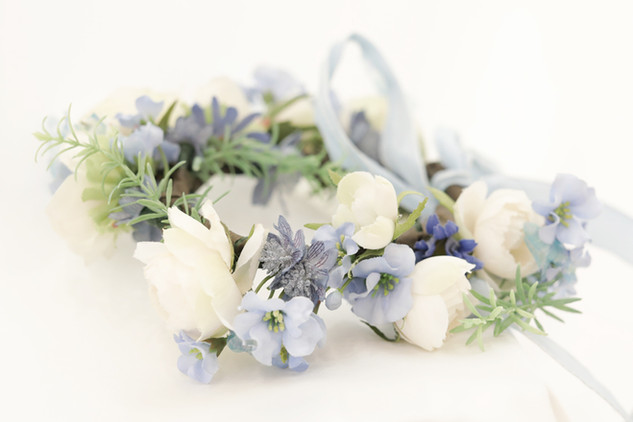 ブルーとハーブの花冠