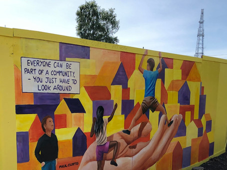 July 2019  A mural by Artist Paul Curtis welcomes all to the former West Derby Carnegie Library