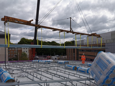 May 2020 Euroclad Elite 5 roof takes shape at Lancaster University