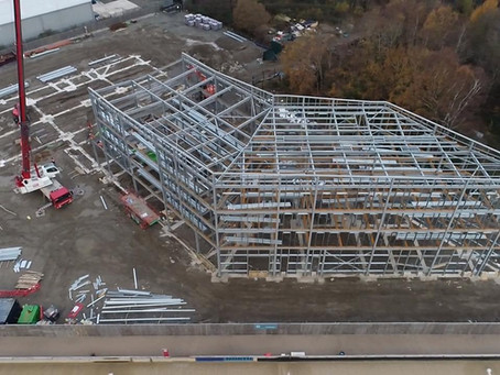 December 2019 Steel Structure takes shape for the Hilton Garden Inn at Snowdonia's Adventure Parc