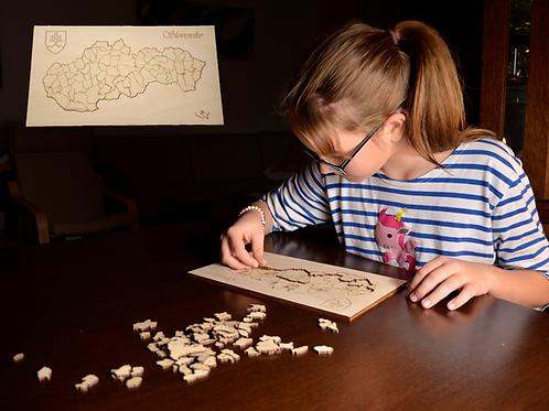 Drevené puzzle Slepá mapa Slovensko - okresy